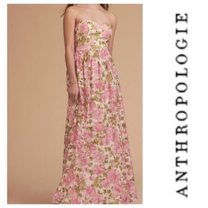BHLDN Strapless Floral Jessa Long Dress XS/S 2/4
